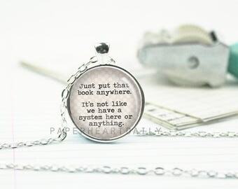Librarian Necklace - Librarian Gift - Librarian - Quote Necklace - Bookseller -  (B4777)
