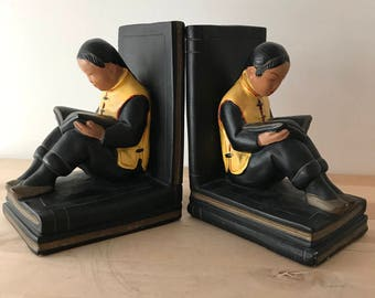 Alexander Backer Chalkware Bookends Abco Vintage Asian Girls Reading 1950s