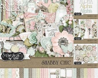 On Sale 50% Shabby Chic,Digital Scrapbook Kit, Scrapbooking, Bundle, Collection