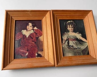 70s Wall Art, Victorian Children, Portraits, Vintage Prints, Home Decor, Picture Set, Wall Art, Pair, Victorian Boy, Victorian Girl