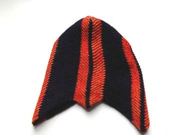 50s Knit Boys Football Style Hat in Orange and Navy Blue, Vintage Handmade