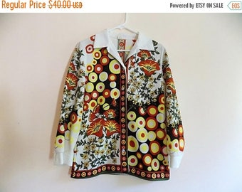 70s Fall Button Down Autumn Blouse ILGWU, Size Large