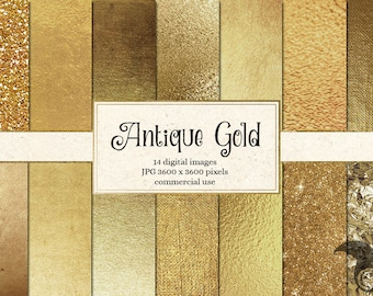 Antique Gold Digital Paper, Antique Golden Textures, Backgrounds, Gold Glitter, Gold Foil Scrapbook Paper Pack, commercial Instant Download