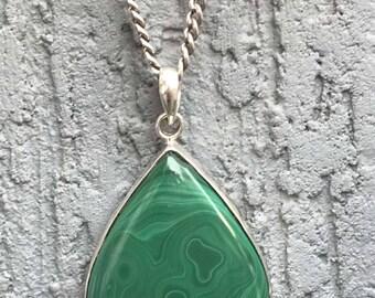92.5 silver pendant Malachite pear shape, Malachite silver pendant necklace/ Silver malachite/ Malachite necklace