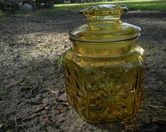 Vintage Amber Imperial Glass ~ Atterbury Scroll Canister ~ Amber Glass Kitchen Canister ~ Amber Glass Cookie Jar, Amber Canisters (knevils)