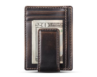 CARRYALL MAGNETIC Front Pocket Wallet • BLACK • Money Clip Wallet • Groomsmen Gift • Mens Leather Wallet • Multi-Card Functionality