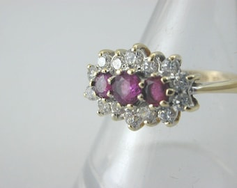 9ct Yellow Gold Ruby Trilogy Clustered with Cubic Zirconias size N 1/2