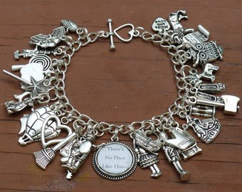 Wizard of Oz There's No Place Like Home Charm Bracelet - Dorothy, Wicked Witch, Toto, Tinman, Scarecrow, Lion