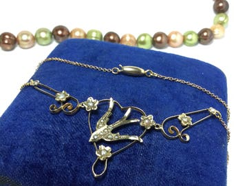 Gold Swallow Seed Pearl Antique Necklace