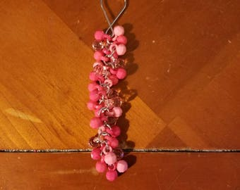 Pink beaded keychain