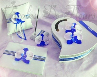 Blue wedding Royal/white guestbook, worn pen, urn and ring bearer to customize colors to choose from