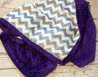 Minky Baby Blanket,Baby Girl Blanket,Purple Minky Dot,Gray,Handmade Chevron Blanket,Baby Shop,Purple  Blanket, Baby Gift