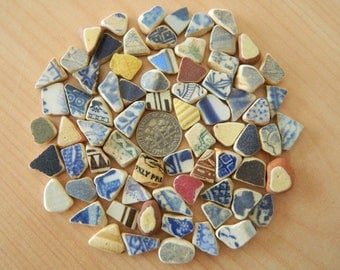 72 Tiny  pottery shards in an assortment of colours