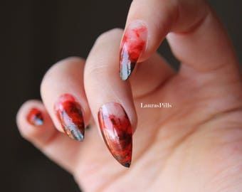 Red and black ink marble stiletto false nails! Halloween false nail, press on nails marble blood effect Set of 20 nails