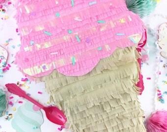 "Ice Cream Pinata, Ice Cream Party, Birthday Party Pinata, Sprinkles, Party Decoration, 15"" Pinata"