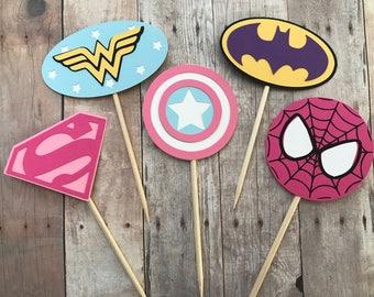 Girl Superhero Cupcake Toppers