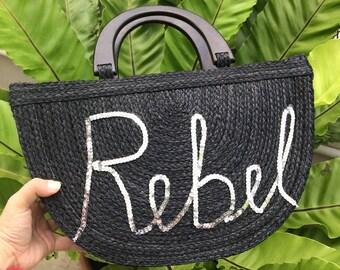 Personalized Bag , Straw Bag, Beach Bag, Straw Hand bags, Straw Tote, Straw purse, Straw Beach bag Bridal Squad pom pom bags Basket Bag
