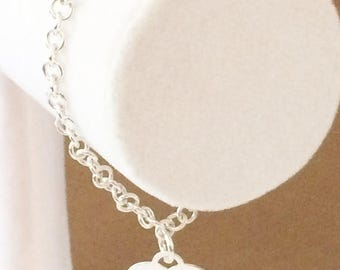 33% Off Christmas in July Sterling Silver Rolo Heart Charm Bracelet 7 1/4""