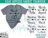 IRON On v97-A2  Wedding Titles Carried Away Bride Tribe Heart Arrow T-Shirt Transfer *Specify Color Choice in Notes BLACK or WHITE Vinyl
