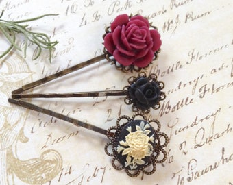 Burgundy And Black And Floral Hair Clips
