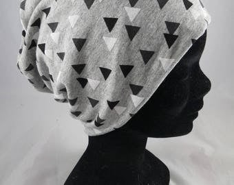 Bas095 - Cap chemo gray and gray, black and white triangles