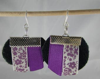 Boucles131 - Earrings black and purple ribbons