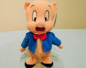 Warner Brothers Porky Pig Hanna Barbara Cartoon Character/Friend of Elmer Fudd And Bugs Bunny/Long Retired In The 90's/New With Tags/Rare!
