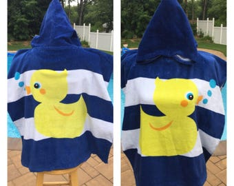 Little Rubber Duckie hooded Cotton Beach Poncho Towel Personalized