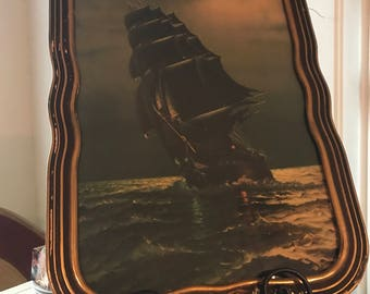 Antique frame of Old Ironsides  frame ha silver and gold leafing