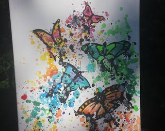 "Colorful Abstract-ish Glittery Butterfly Painting - One-of-a-Kind - Wrapped Canvas 16""x20"" - IN STOCK!!"