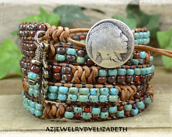 Native American/ Seed Bead Leather Wrap Bracelet/ Beaded Leather Wrap/ Seed Bead Leather Bracelet/ Boho Wrap Bracelet/ Seed Bead Bracelet.