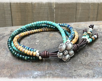 Seed Bead Bracelet/ Seed Bead Leather Bracelet/ Boho Wrap Bracelet/ Boho Chic Bracelet/ Beaded Wrap Bracelet/ Bohemian Bracelet/Leather Wrap