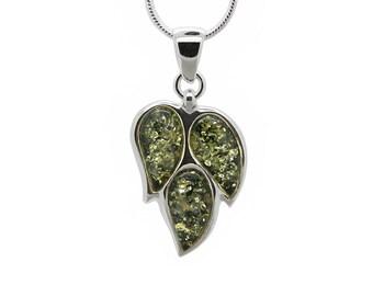 Silver Leaf Necklace - Leaf Necklace - Amber Leaf Pendant - Amber Necklace - Amber Pendant - Amber Leaf Necklace - Leaves Necklace -489P2g