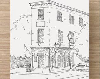 Ink sketch of Shop in Fells Point, Baltimore, Maryland - Drawing, Art, Architecture, Brick Building, Historic, Pen and Ink, 5x7, 8x10, Print