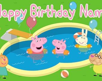 Peppa Pig Birthday Banner (Pool Party)
