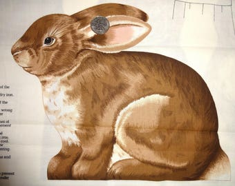 Bunny Rabbit Easter Stuffed Animal Appliques Cotton Quilting Brown Fabric Panel