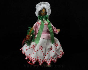 Hand Painted Doll - 1960s 1970s Polish Folk Lady in Colorful Costume - Cap on Head & Flowers in Hand - Handmade in Europe - 49132