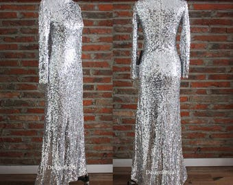 Eye-catching Sequined Warm Formal Dress,VIP Guest Dress for Wedding,Modest Long Sleeves Evening Gown Dress,Sparkle Dress Silver