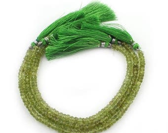 Valentines Day 2 Strands Finest Quality Peridot Faceted Rondelles - Peridot Roundel Beads 4mm-5mm 8 Inches  SB3909