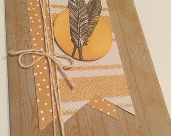 Feathers and wood grain card