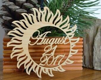 Solar Eclipse  ornament wood cut decoration. Laser cut Total Solar Eclipse ornament, Solar Eclipse August 21, 2017