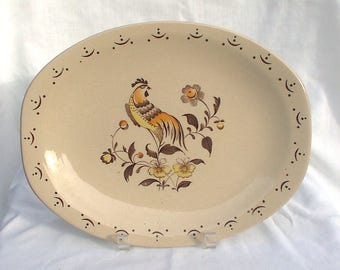 "Johnson Brothers Sun Up 12"" Platter Rooster Bird"