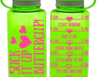 Suck it up Buttercup! Water bottle by Limboea - funny gym bottle with hourly tracker BPA free  38 Oz large workout water bottle motivational