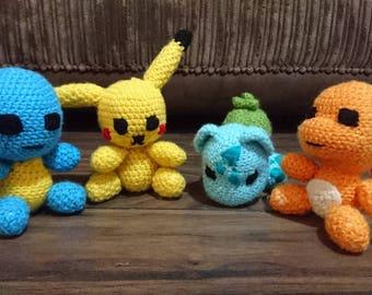 Pikachu, Charmander, Squirtle and Bulbasaur Amigurumis