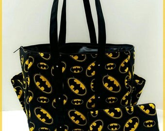 Batman diaper bag set. Black yellow. Cotton fabric. Tote. Matching wipe case.