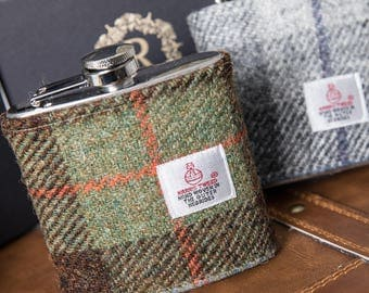 HT08 Gift Boxed McLeod Harris Tweed Hip Flask Gift UK p&p best man gift wedding bridesmaid groomsman personalised tartan Scottish McLeod
