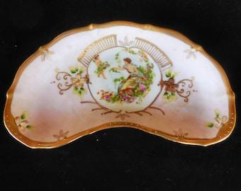 Porcelain Hand Painted Crescent Bone Dish