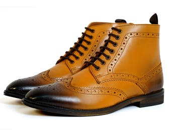 Aspele Mens Classic Tan Burnish Leather Brogues Ankle Boots