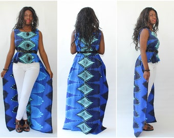 NEW African Print Ankara - Jasmine Hi Lo, Maxi Dress,Africa Clothing, Maxi Dress, African Fashion,Tribal Print, Ankara Maxi Dress,Cape Dress
