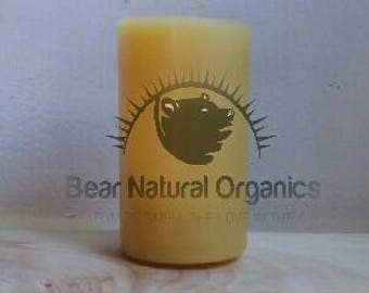 """Handmade organic 100% organic golden yellow Beeswax pillar candle with cotton wick. 2"""" x 3.8"""" 7oz candle dye free naturally scented"""